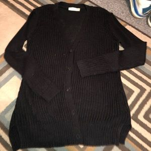 RD style long button cardigan size medium black